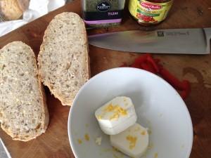 Ingrediënten voor de bruschettas met geitenkaas